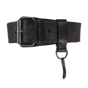 7 Virtues Vintage 4.5cm Belt Blue/Grey Dark Brown