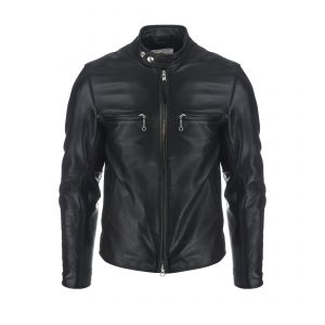 Slim Fit Banded Collar Motorcycle Jacket Black