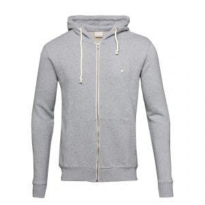Knowledge-Cotton-Sweatshirt-Basic-Hood-Sweat-Grey- Melange-30186-1012-01
