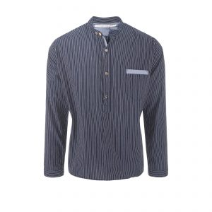 Cotton Shirt Stripe Navy/White