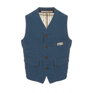 Cotton Vest Light Blue/Beige