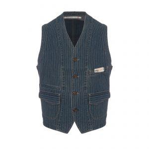 Cotton Vest Pinstripe Blue