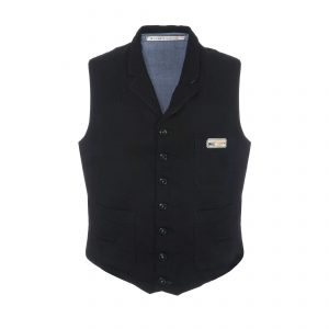 Cotton Vest Black/Light Blue