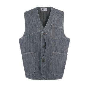 Worker Vest Indigo Herringbone