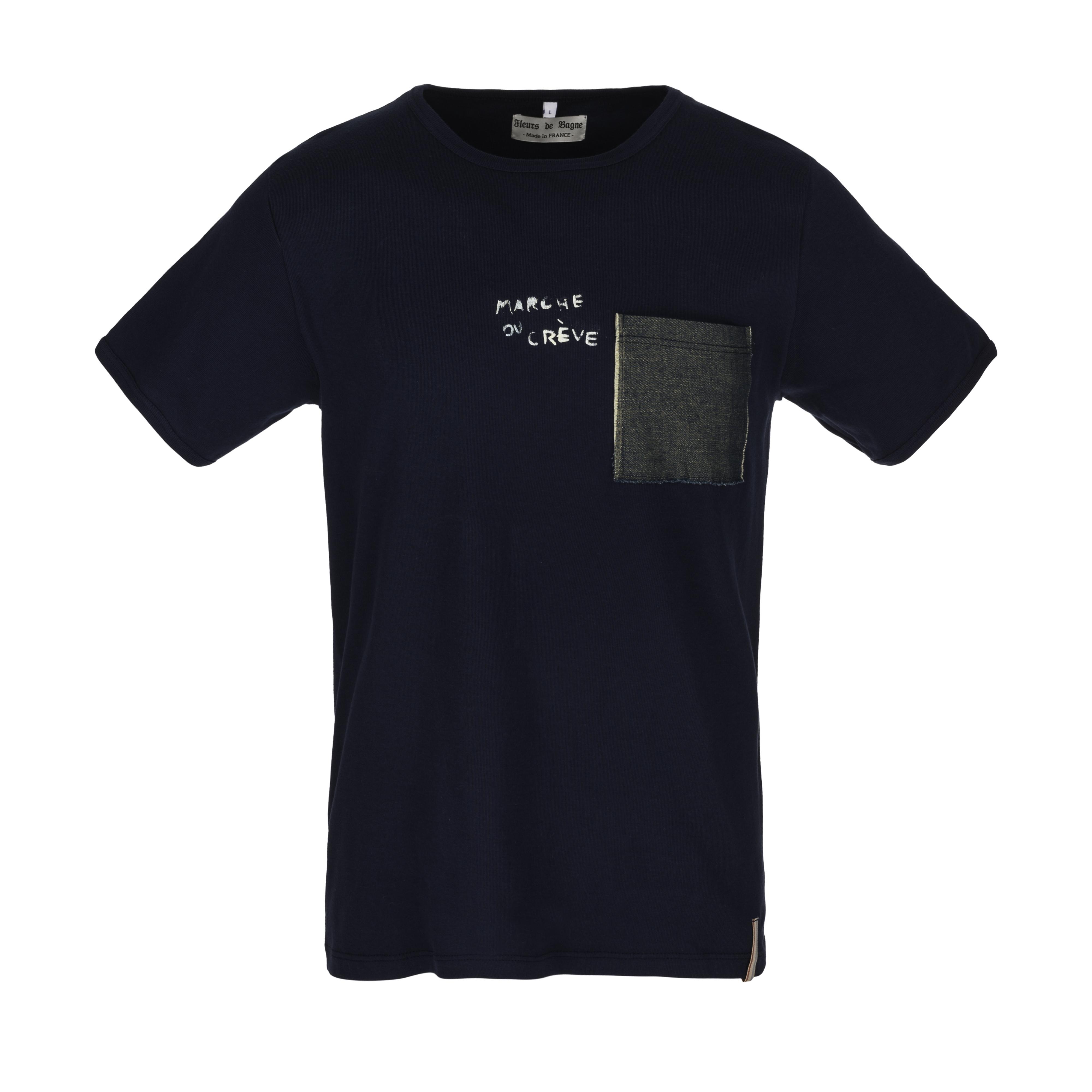 Marche Ou Creve 1 Pocket T Shirt Navy B74