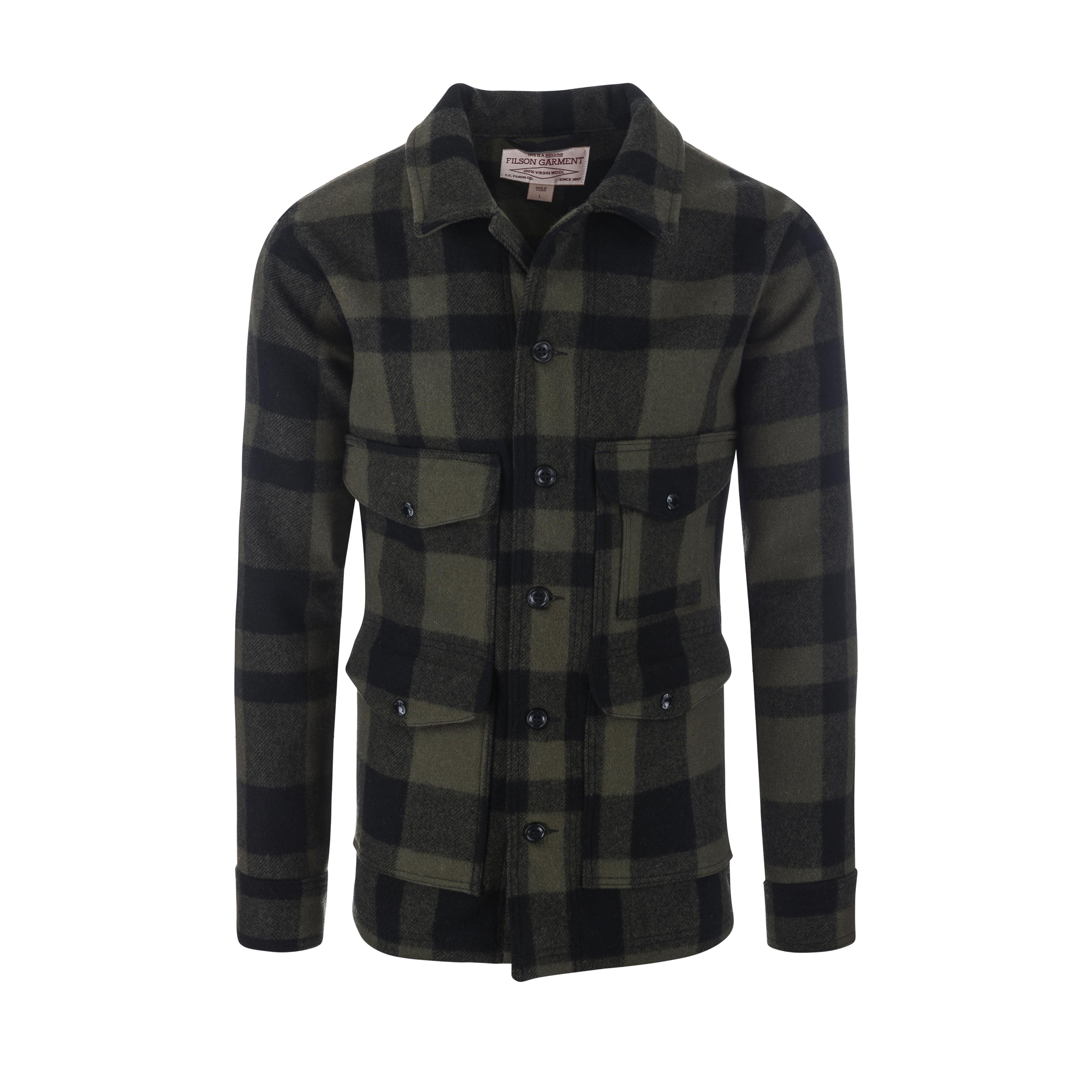 Wool Mackinaw Cruiser Jacket Otter Green/Black