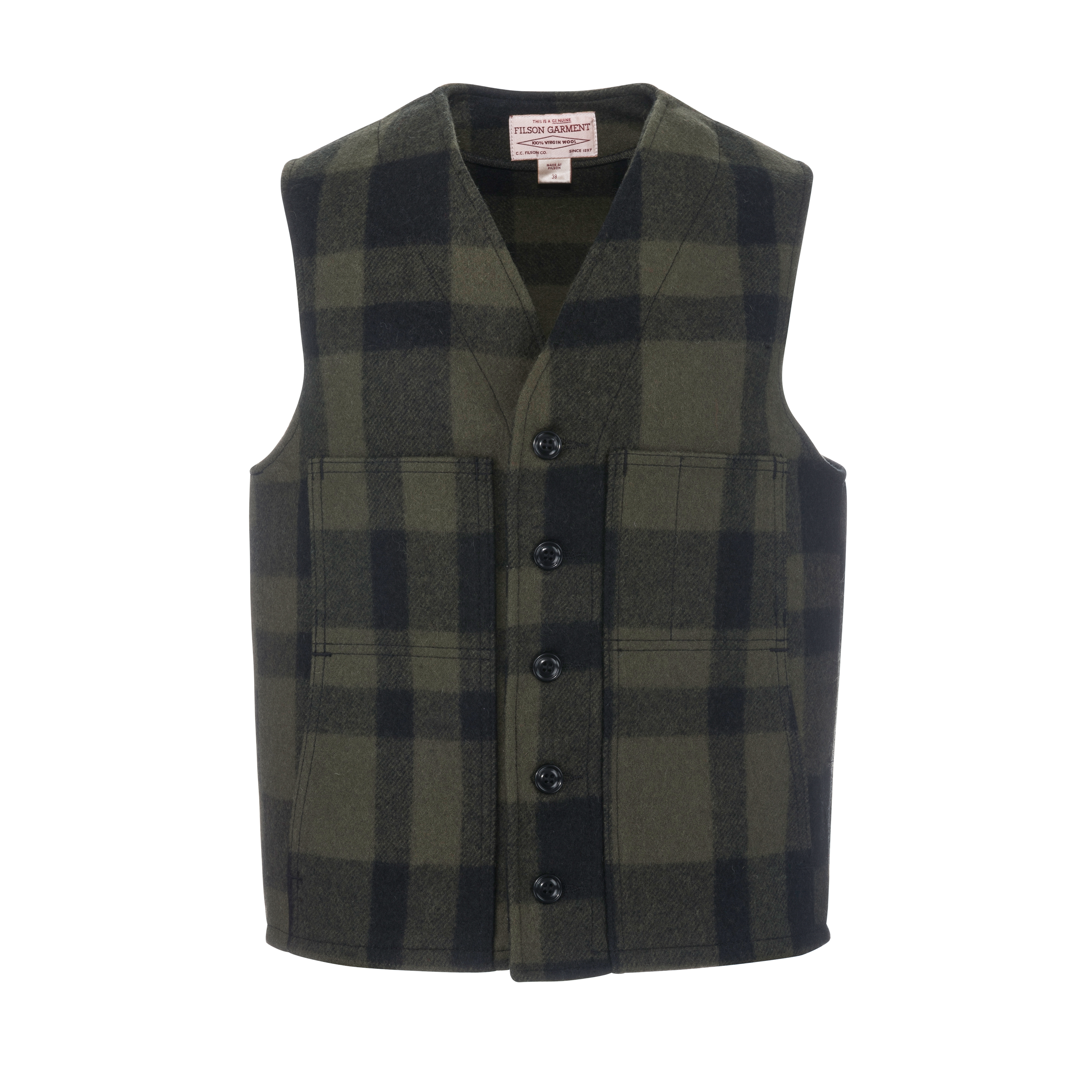 Mackinaw Wool Vest Otter Green/Black