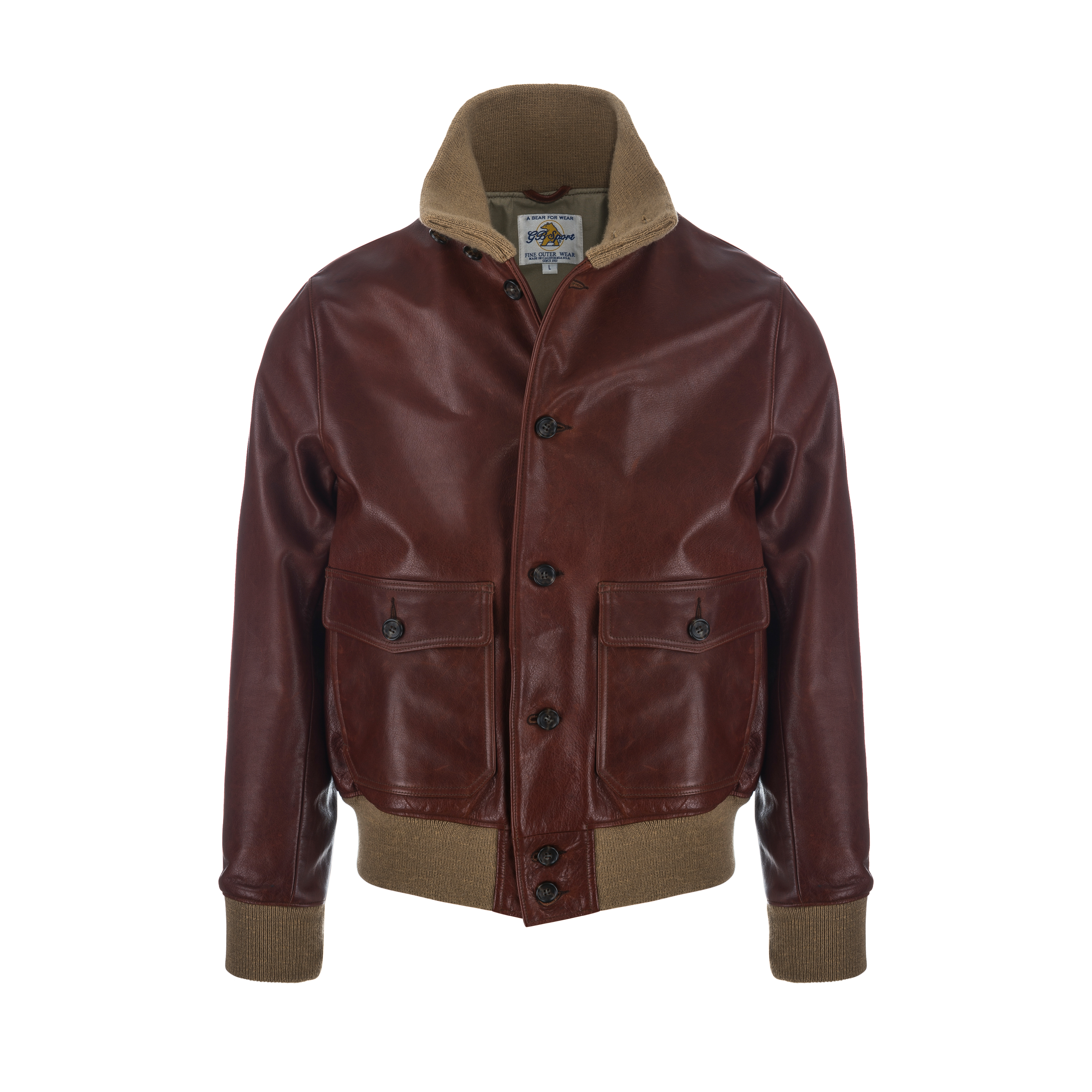 Bomber Jacket Knit Collar Brown