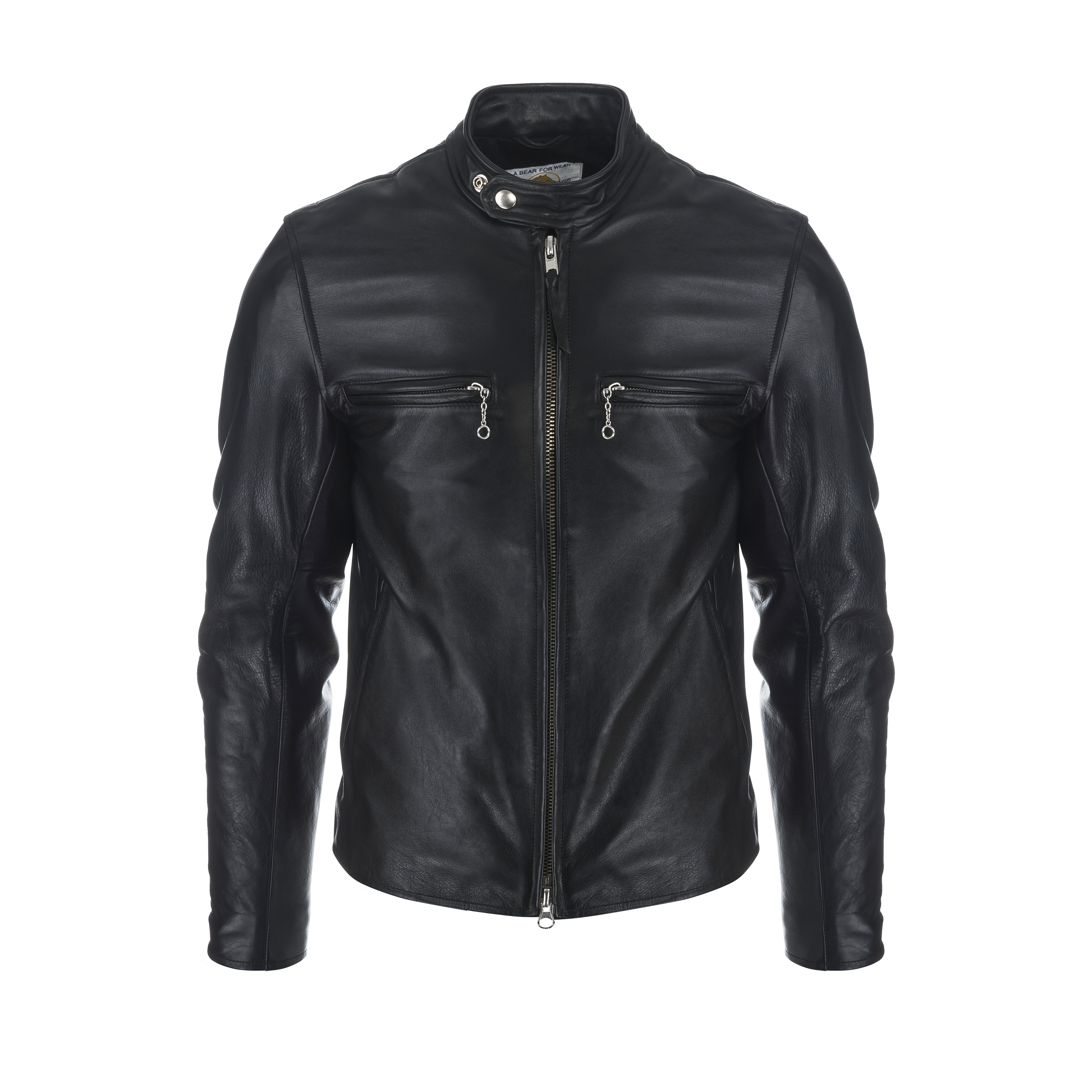 Slim Fit Banded Collar Motorcycle Jacket Black