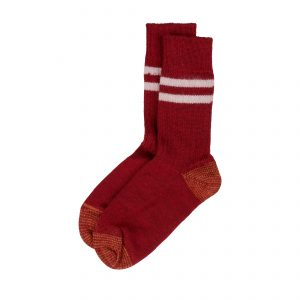 Pure Organic Wool Socks S75 Dark Red/Nature
