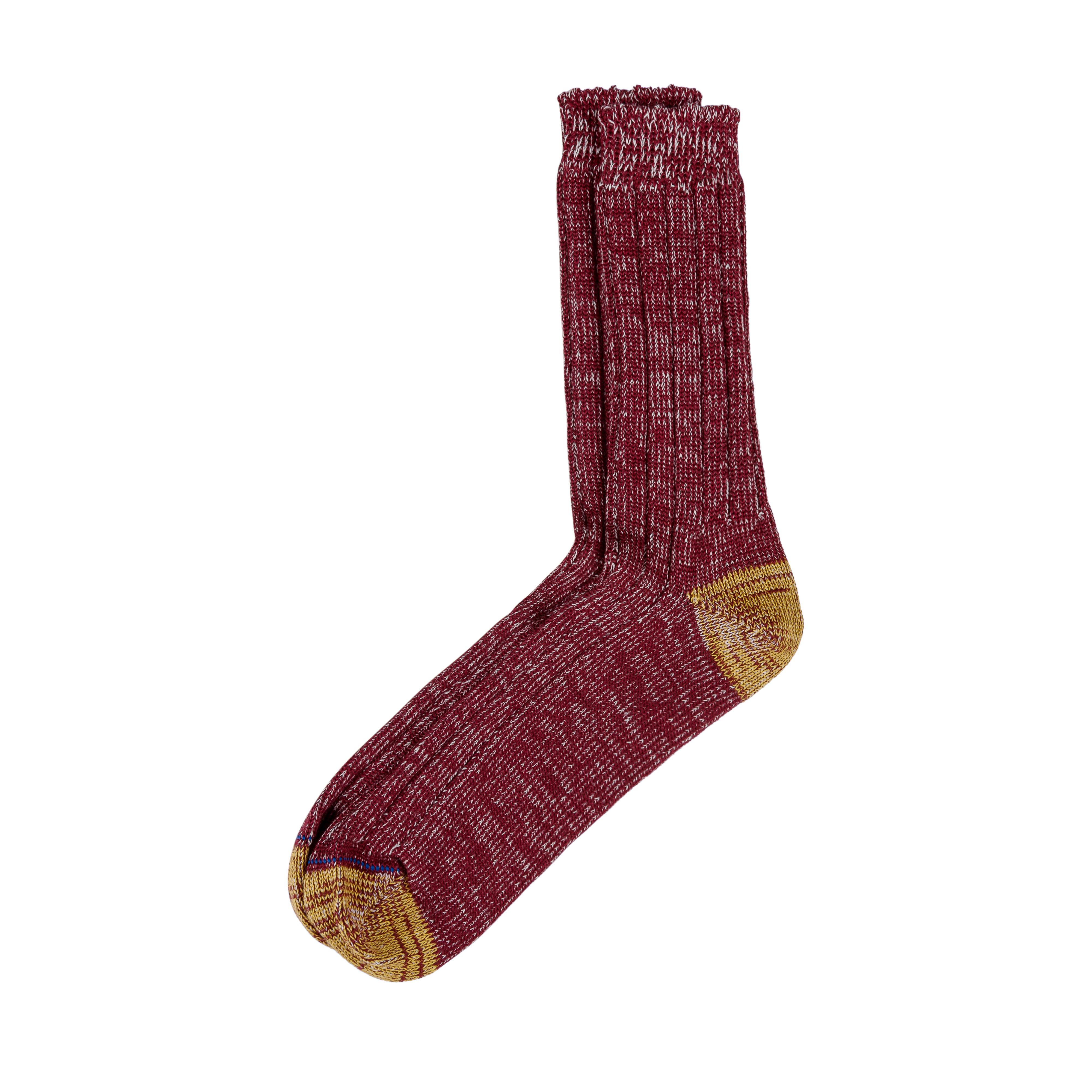 Merino Wool Socks W72 Dark Red/Nature