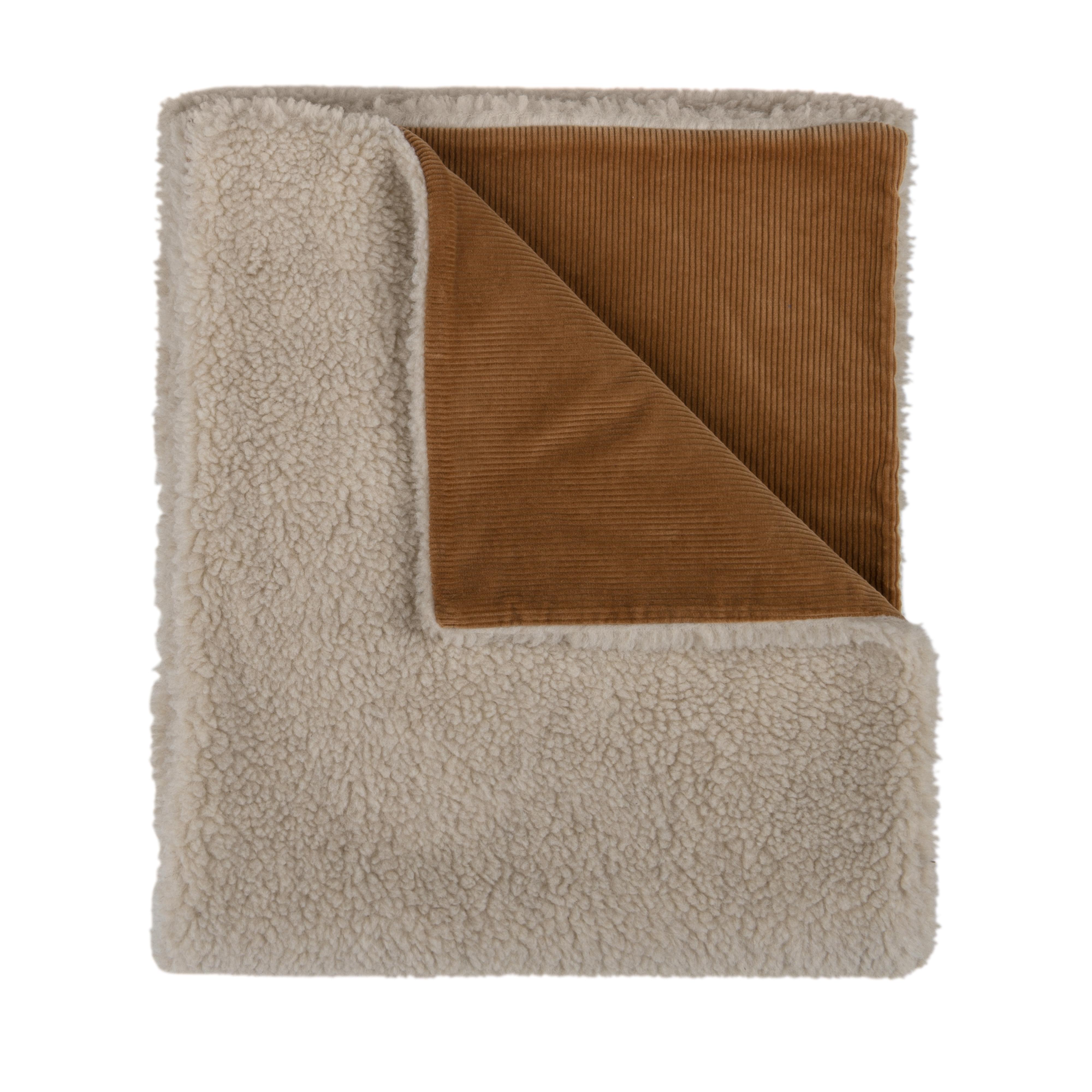 Corduroy Wool Scarf Brown White