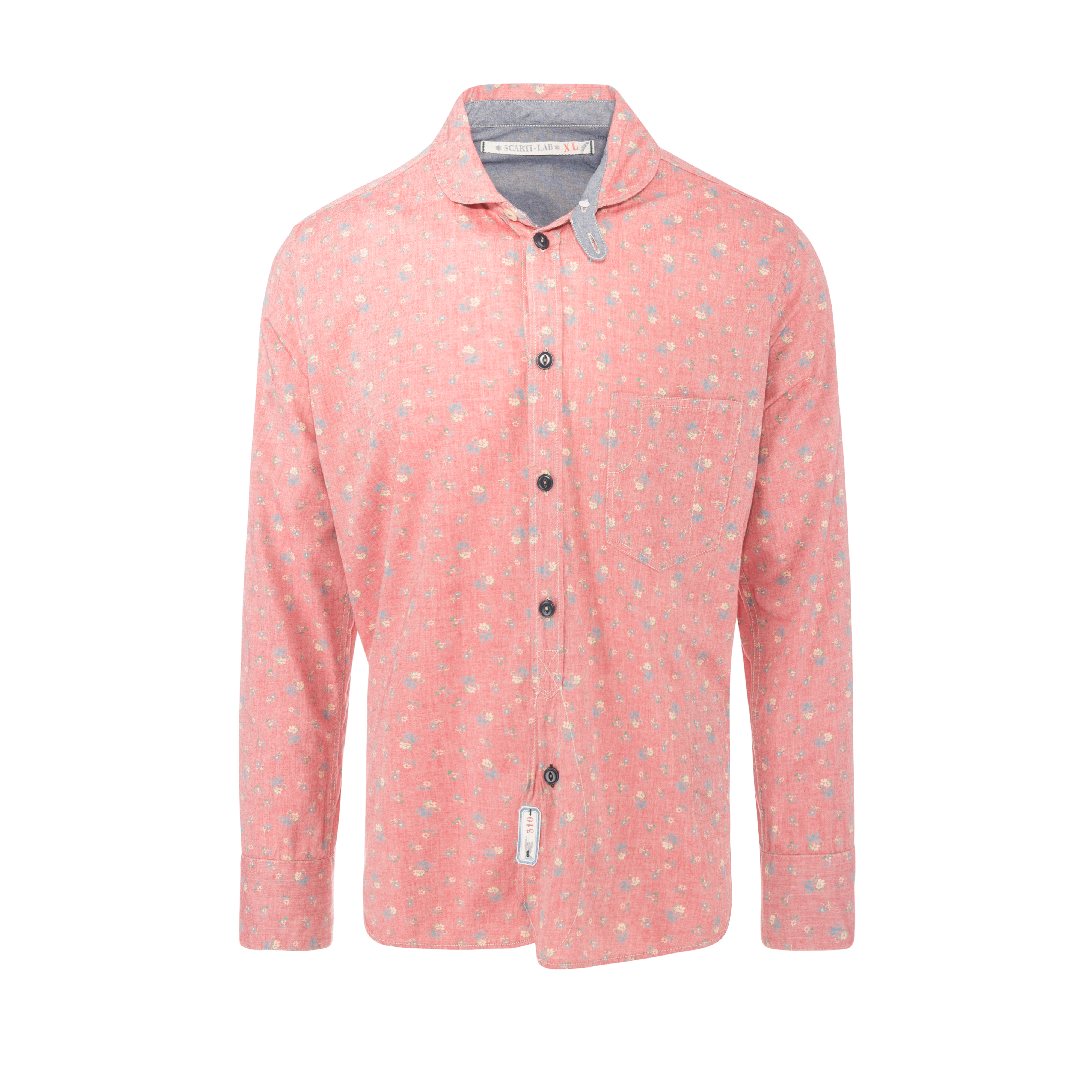 Cotton Shirt Light Red With Flowers