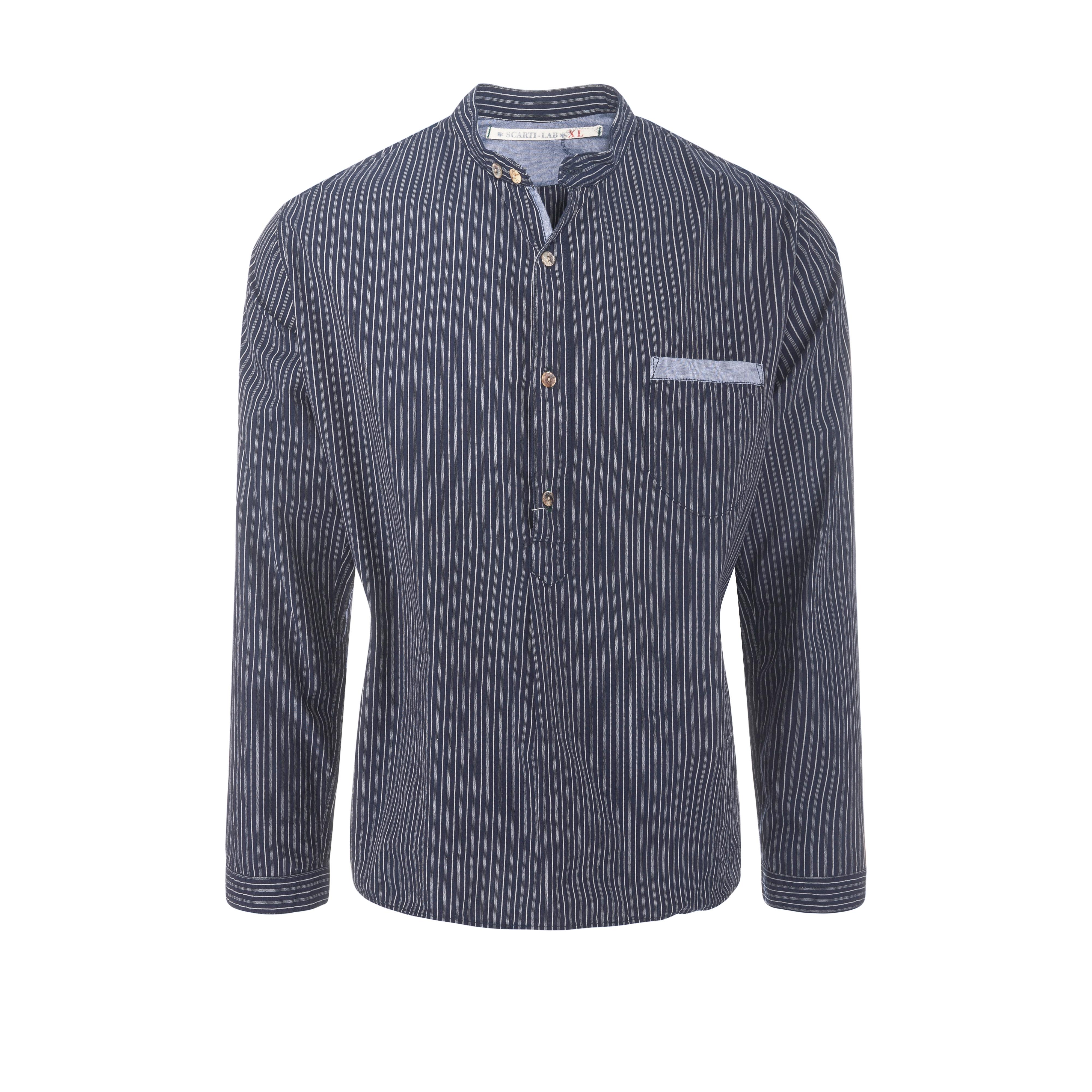 Cotton Shirt Stripe Navy/White