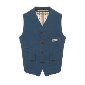 Cotton Vest Light Blue/Beige