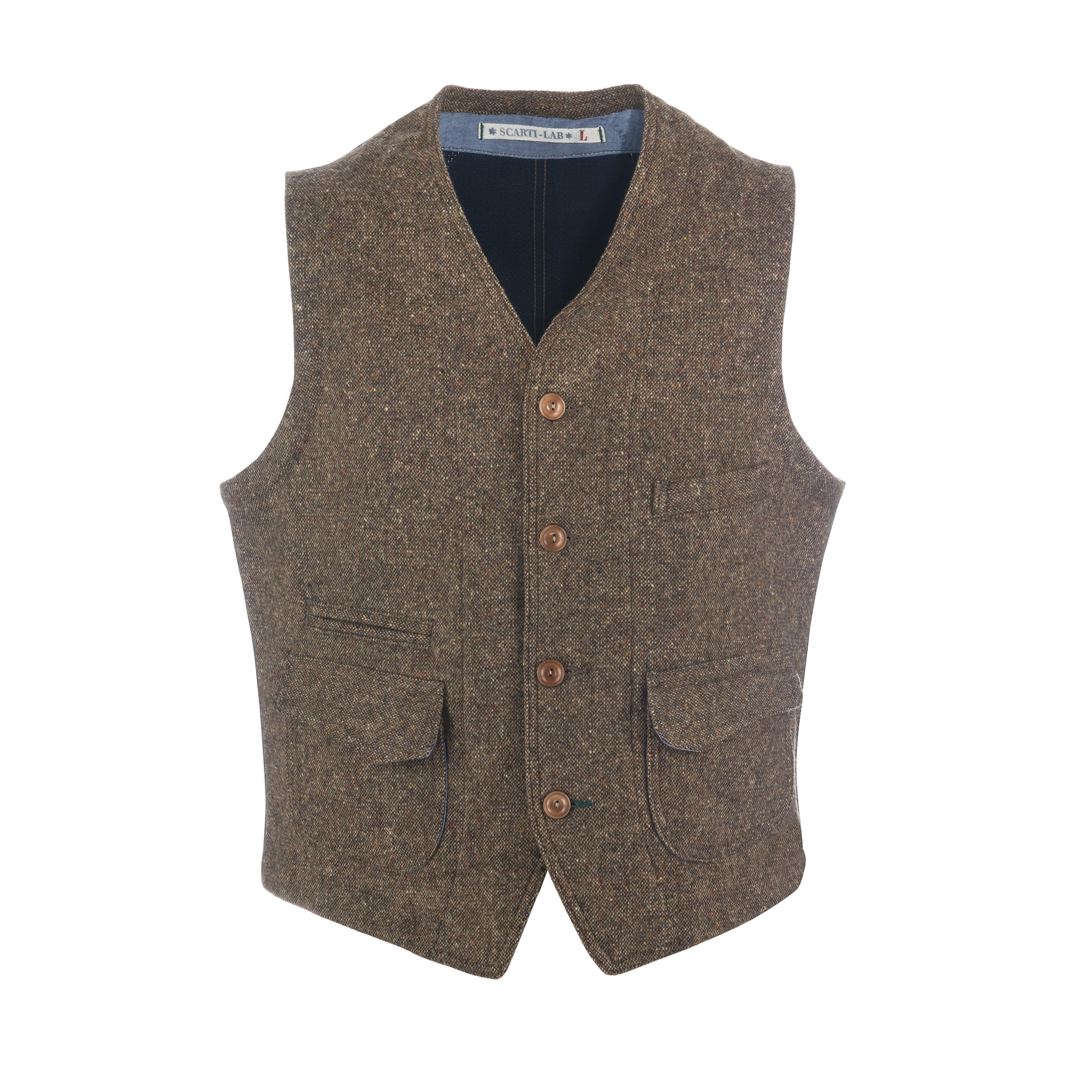 Wool Vest Brown/Navy