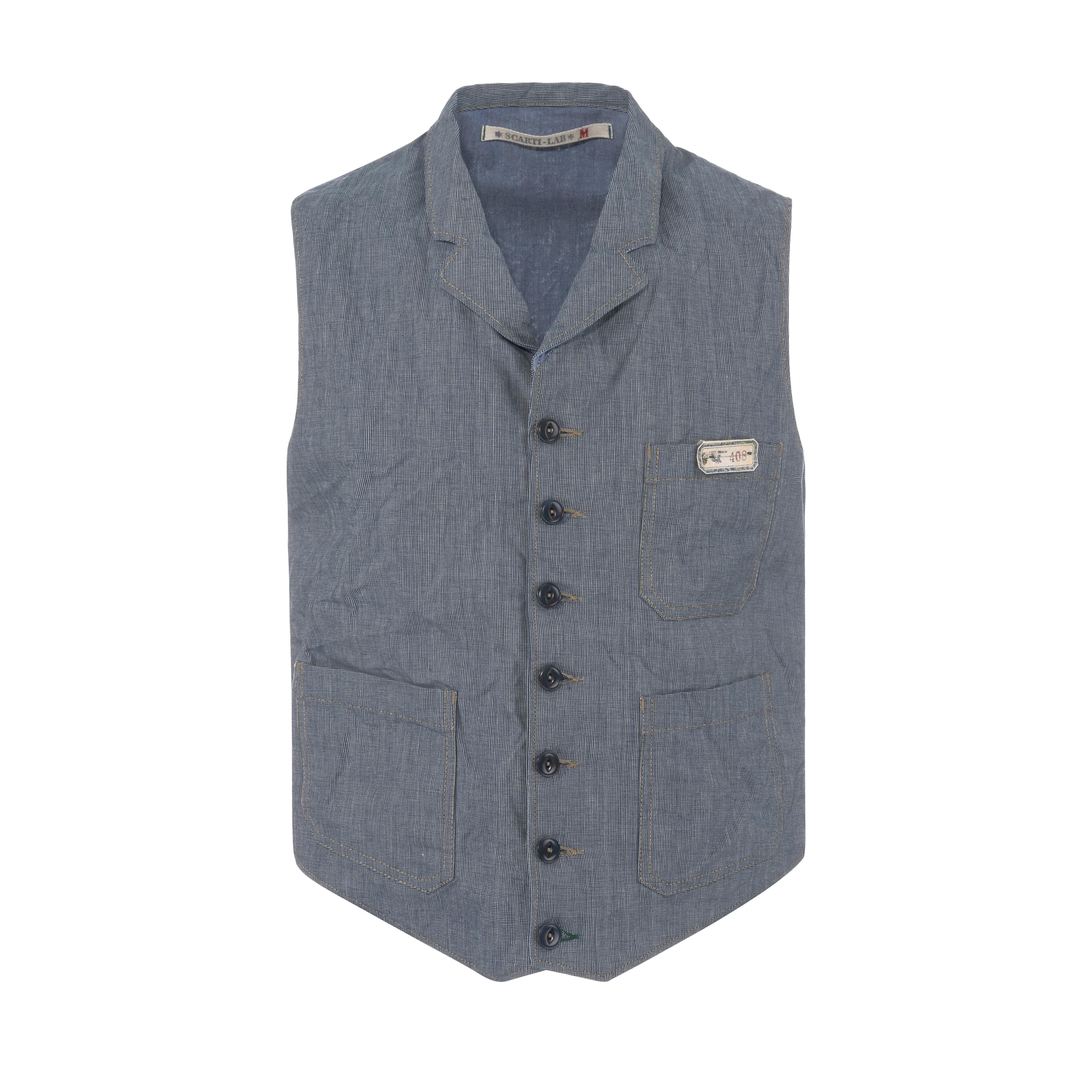 Cotton Vest Blue Grey
