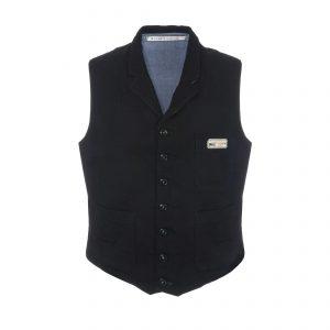 Cotton Vest Black/Light Blue
