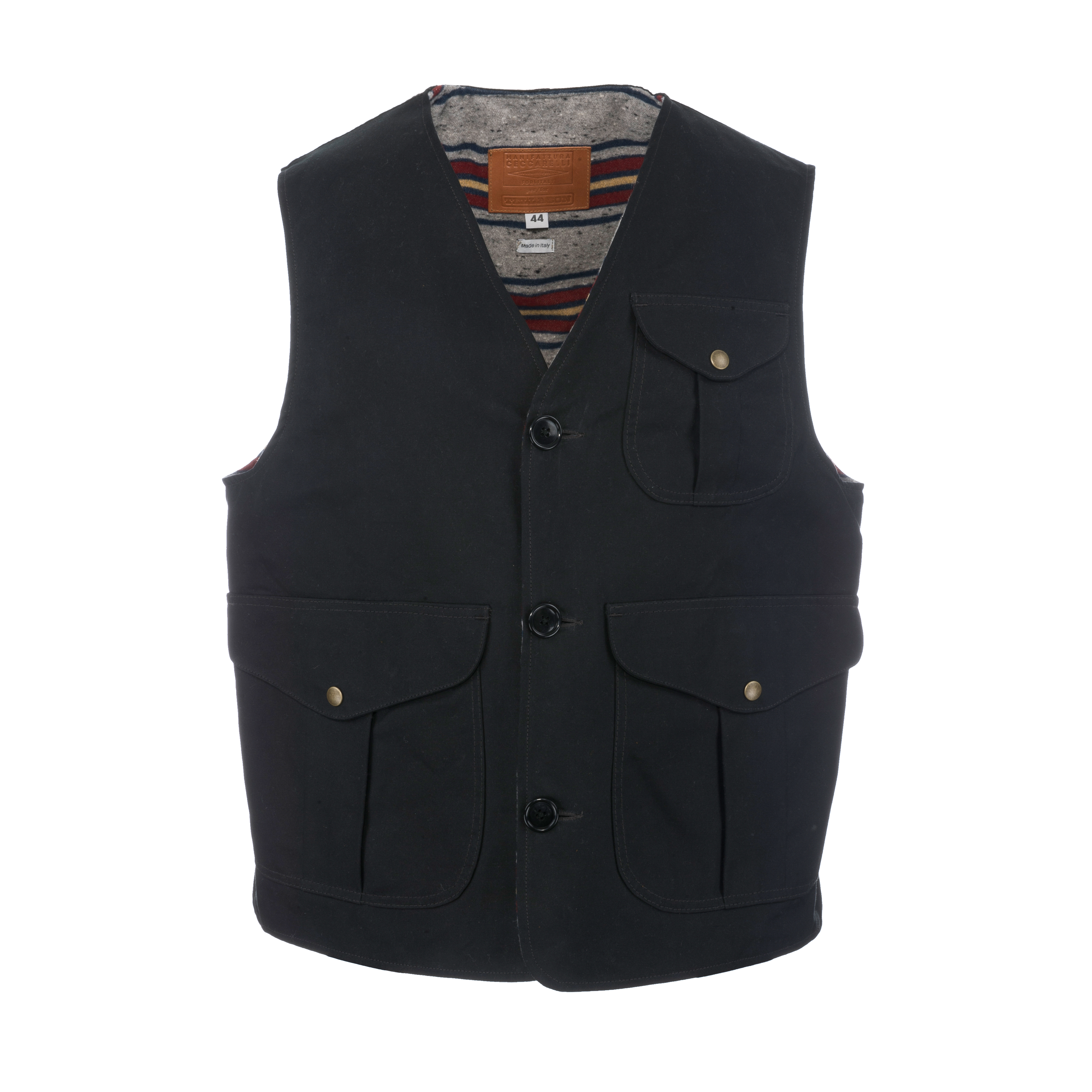 Waxed Canvas Vest Black Blanket Lined B74