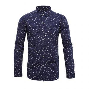 Knowledge-Cotton-Concept Print-Shirt- Navy-90648-1091-01