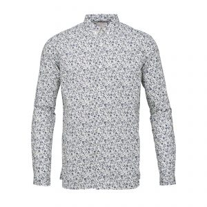 Knowledge-Cotton-poplin-shirt-with-all-over-flower-print-peacoat-90580-1091-01